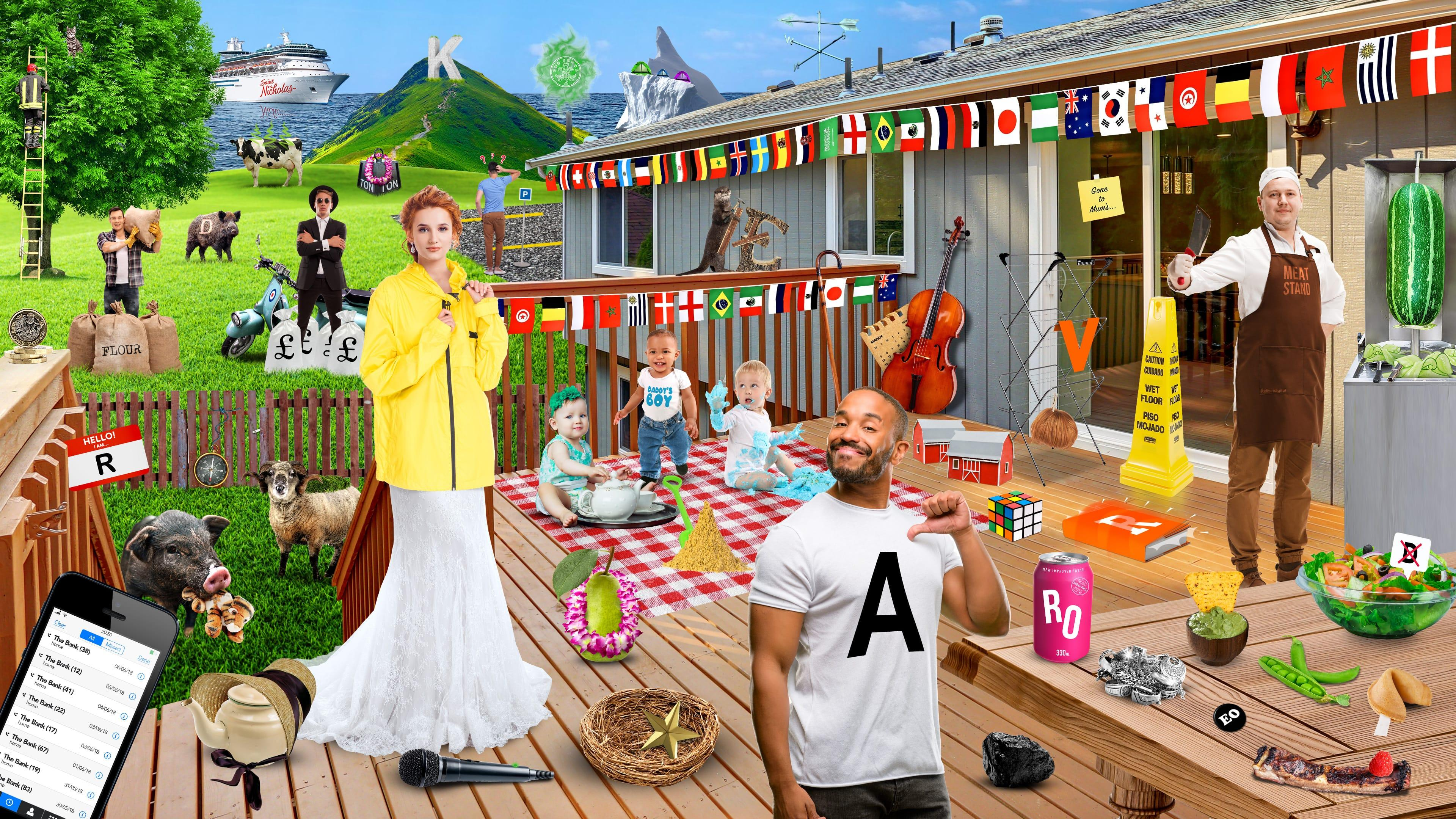 Find 50 World Cup Players, a scene with several clues, from babies on a blanket, to animals, to microphones etc